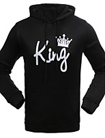 Men's Casual/Daily Simple Hoodie Solid Print Letter Hooded Micro-elastic Cotton Polyester Long Sleeve Fall