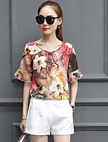 Women's Casual/Daily Simple Blouse,Floral Round Neck Half Sleeves Polyester