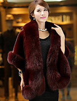 cheap -Women's Daily Casual Winter Fall Fur Coat,Solid V Neck ¾ Sleeve Regular Faux Fur