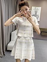 Women's Casual/Daily Simple Summer Blouse Skirt Suits,Solid Round Neck Short Sleeve