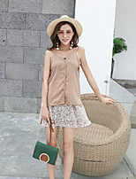 Women's Casual/Daily Simple Summer T-shirt Skirt Suits,Print V Neck Sleeveless