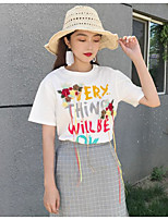 Women's Going out Simple T-shirt,Solid Print Round Neck Short Sleeves Cotton