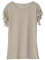 Women's Casual/Daily Simple Summer T-shirt,Solid Round Neck Short Sleeves Polyester