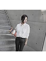 Damen Solide Einfach Lässig/Alltäglich Arbeit Hemd,Hemdkragen Langarm Baumwolle
