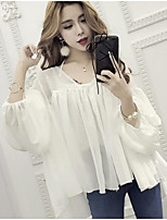 Women's Going out Sexy Blouse,Solid V Neck Long Sleeves Cotton
