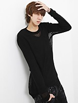 Men's Going out Casual/Daily Simple Short Pullover,Solid Round Neck Long Sleeves Polyester Spandex Others Spring Fall Thin Micro-elastic