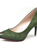 Damen High Heels Komfort Frühling Kaschmir PU Kleid Metall Zehen Stöckelabsatz Schwarz Armeegrün 7,5 - 9,5 cm