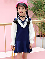 Girl's Striped Patchwork Dress,Rayon Polyester Spring Fall Long Sleeve