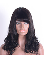 Beautiful and Charming Natural Wavy 100% Brazilian Human Hair Capless Wigs for Women None Lace Wigs with Bangs Machine Made Human Hair Wigs