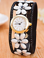 Women's Wrist watch Quartz Colorful Leather Band Flower Black White Blue Red Pink Purple Rose