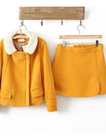 Damen Solide Einfach Niedlich Aktiv Festtage Ausgehen Lässig/Alltäglich Shirt Rock Anzüge Frühling Herbst Lange Ärmel Mikro-elastisch