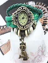 Damen Modeuhr Armband-Uhr Quartz PU Band Schwarz Blau Orange Grün