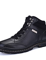 Men's Boots Comfort Snow Boots Bootie Real Leather Cowhide Nappa Leather Winter Casual Outdoor Office & Career Lace-up Flat HeelBrown