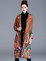 ZIYI Women's Casual/Daily Simple Fall Trench CoatSolid Print Shawl Lapel Long Sleeve Long Cotton Polyester