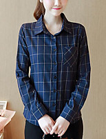 Women's Casual/Daily Simple Shirt,Print Shirt Collar Long Sleeves Polyester Others