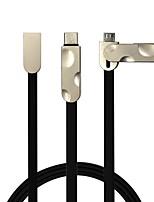 Câble plat 2 en 1 usb2.0 pour samsung huawei sony nokia htc motorola lg lenovo xiaomi 100 cm pvc