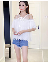Women's Casual/Daily Sexy Blouse,Solid Strap Short Sleeves Silk