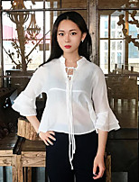 Women's Going out Simple Blouse,Solid Round Neck Long Sleeves Polyester
