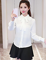 Women's Casual/Daily Simple Shirt,Solid Stand Long Sleeves Polyester