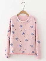Damen Solide Geometrisch Druck Einfach Niedlich Street Schick Ausgehen Lässig/Alltäglich T-shirt,Rundhalsausschnitt Sommer Herbst Langarm