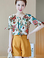 Women's Going out Casual/Daily Street chic Summer T-shirt Pant Suits,Floral Round Neck Short Sleeve Micro-elastic