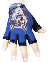 Men's Cotton Nylon Wrist Length Half Finger Soak Off Outdoor Sports Animal Print Spring/Fall Summer Cycling Bike Gloves