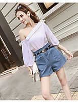 Women's Casual/Daily Simple Summer T-shirt Pant Suits,Solid Boat Neck ¾ Sleeve