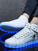 Men's Sneakers Comfort PU Spring Fall Casual LED Lace-up Flat Heel Ruby Black White Under 1in