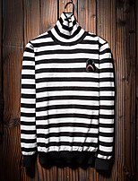 Men's Going out Casual/Daily Short Pullover,Striped Turtleneck Long Sleeves Wool Cotton Polyester Others Spring Fall Thin Stretchy