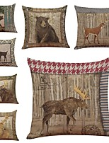 Set of 7 Retro Background Animals Linen  Cushion Cover Home Office Sofa Square  Pillow Case Decorative Cushion Covers Pillowcases