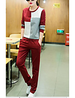 Women's Sports Simple Spring Fall Hoodie Pant Suits,Mixed Color Round Neck Long Sleeve