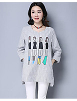 Women's Casual/Daily Cute T-shirt,Solid Striped Print Round Neck 3/4 Length Sleeves Cotton