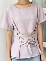 Damen Solide Einfach Lässig/Alltäglich T-shirt,Rundhalsausschnitt Kurzarm Leinen Andere