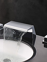 Contemporary Widespread Waterfall with  Two Handles Three Holes for  Chrome  Bathroom Sink Faucet Set