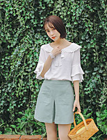 Women's Casual/Daily Simple Shirt,Solid Boat Neck Short Sleeves Polyester