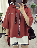 Women's Casual/Daily Simple T-shirt,Letter Hooded Half Sleeves Cotton