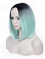 Middle Part Ombre Mint Green Color BOBO Straight Hair European Synthetic Wigs For Black Women Wig
