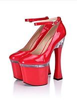 Damen High Heels formale Schuhe PU Frühling Herbst Kleid Party & Festivität Kristall Schnalle Spulen Absatz Weiß Schwarz Grau Rot12 cm &