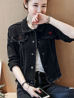 Women's Casual/Daily Simple Spring Denim Jacket,Solid Shirt Collar Long Sleeve Regular Cotton Others