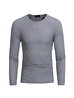 Men's Casual/Daily Chinoiserie Regular Pullover,Solid Round Neck Long Sleeves Polyester Spring Fall Medium Stretchy