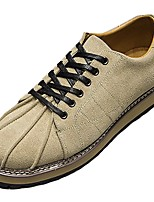 Men's Sneakers Comfort Spring Fall PU Casual Lace-up Flat Heel Khaki Brown Black Flat
