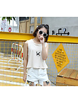 Women's Casual/Daily Simple T-shirt,Solid Color Block Round Neck Sleeveless Cotton
