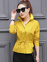 Women's Casual/Daily Simple Shirt,Solid V Neck Long Sleeves Cotton Others