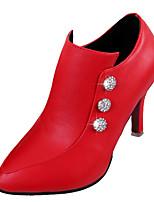Women's Heels Comfort PU Spring Fall Casual Imitation Pearl Stiletto Heel Ruby Beige Black 2in-2 3/4in