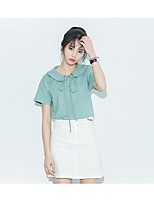 Women's Casual/Daily Simple T-shirt,Solid Shirt Collar Short Sleeves Cotton