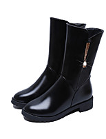 Women's Boots Comfort Winter PU Casual Imitation Pearl Flat Heel Dark Brown Light Brown Black Flat