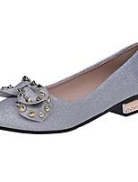 Damen High Heels Komfort PU Frühling Herbst Normal Schleife Niedriger Absatz Schwarz Silber Unter 2,5 cm