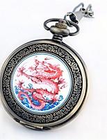 Men's Pocket Watch Quartz Large Dial Alloy Band Vintage Bronze
