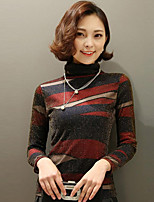 Women's Going out Casual/Daily Simple Fall Blouse,Striped Round Neck Long Sleeves Silk Cotton