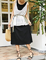 Women's Going out Simple Summer Blouse Skirt Suits,Solid Round Neck Sleeveless